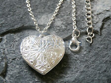 SILVER NECKLACE OPEN UP HEART LOCKET CHARM FOR PHOTO JEWELLERY XMAS IDEA WN032
