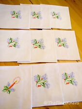 "9 Cloth Christmas Napkins 16"" Square Embroidered Vintage"