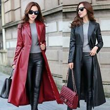 Fashion Womens Long Trench Coat Faux Leather Slim Belt  Black Jacket Windbreaker