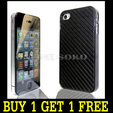 Luxury Black Carbon Fibre Style Hard Case Chrome Cover for Apple iphone 4 / 4s