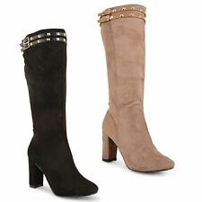 Womens Ladies Faux Suede High Block Heel Buckle Studded Knee Mid Calf Boots