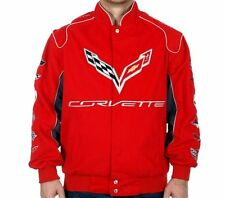 Corvette Jacket Brand New Collage Logos RED Twill Embroidered Licensed Jackets