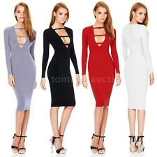 Fashion Women's Deep V-Neck Front Strap Party Midi Party Bodycon Dress Hot 4ZG8