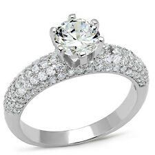 1.85ct Round Shape CZ Stone Crystal Pave Silver Rhodium Engagement Ladies Ring