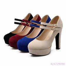 Trendy Womens Ladies High Rough Heels Platform Double Ankle Straps Shoes AU Size
