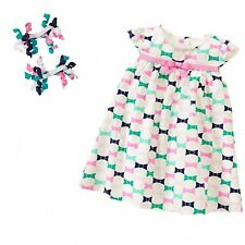Gymboree Picture Day 2 pc Bow Print Dress & Curly Ribbon Barrettes NWT 2T 3T