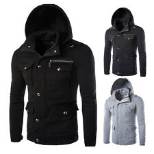 Fashion Mens Zip Button Hooded Military Slim Fit Collar Jacket Warm Coat Outwear