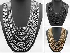 3.5/5/7/9/11mm Mens Boys Gold/Black/Silver Stainless Steel Curb Link Necklace