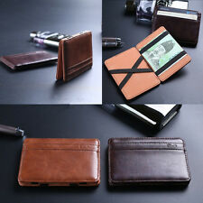 New Mini Slim PU Magic Bifold Money Clip Mens ID Credit Card Holder Case Wallet
