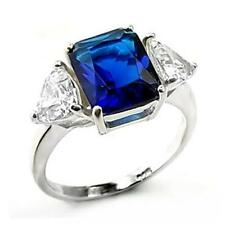 Silver Sapphire Cocktail Ring Blue Cubic Zirconia Triplet Sterling 925 Size 9 10