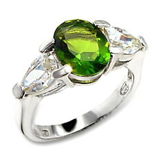 Silver Peridot Cocktail Ring Green Cubic Zirconia Sterling 925 Size 7 8 9 10 USA