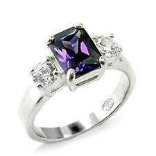 Silver Amethyst Cocktail Ring Purple Cubic Zirconia Triplet Sterling 925 6 10