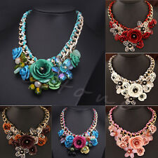 1Pc Statement Choker Flower Necklace Chunky Collar Pendant Chain Fashion Jewelry