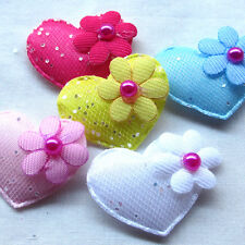 30/60/300PCS 32mm Padded Felt Sweet Heart Flower Appliques Craft Mix A472