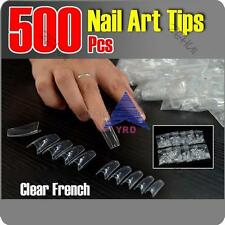 500X Lady Acrylic UV Gel False Clear Natural Nail Art Tips Point Stiletto French