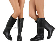 BLACK QUILTED Matte RAIN Boots Rubber Knee High Waterproof Flat Womens NEW 5-10