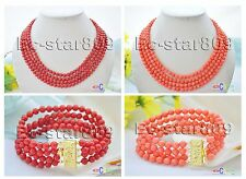 D0178 4row 6mm round sea coral bead necklace & bracelet