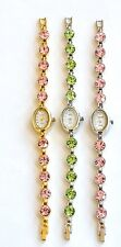 GENEVA OVAL DIAL,GLITZ,CRYSTALS BLINQ LIME GREEN,PINK CRYSTALS,MOP DIAL WATCH