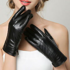 Women's 360° Smart Touch Screen Winter Gloves Genuine Lambskin Leather 3 Lines