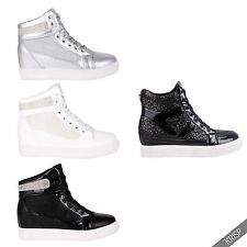 Womens Studded Concealed Wedge Sneakers High Tops Ankle Boots Shoes