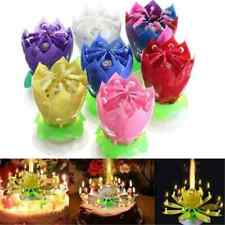 Romantic Charm Musical Lotus Flower Rotating Happy Birthday Party Candle Lights