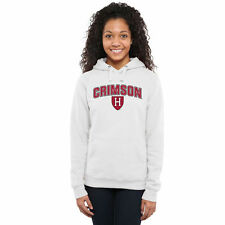 Harvard Crimson Women's Proud Mascot Pullover Hoodie - White - NCAA