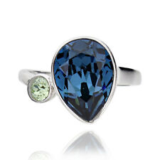Sterling Silver Pear Shape Blue Genuine Crystal Ring (China)