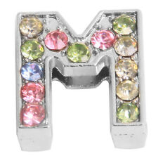 10pcs New Plated Rhodium Colorful Rhinestone Letter Beads Fit Belt Bracelets D