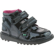 GIRLS INFANTS KICKERS KICK ARRO BLACK PATENT LEATHER VELCRO BOOTS 1-13442