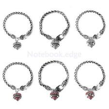 Mom NANA Daughter Crystal Heart Silver Lobster Claw Bracelet Bangle Jewelry Gift