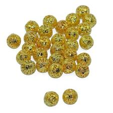 50x Metal Filigree Round Spacer Beads Charms Craft Findings Gold Plated 10mm