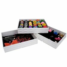 White Stackable Storage Display Tray Case w Color Velvet for Jewelry Organizer