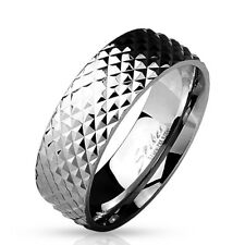 Stainless Steel Men's Pyramid Faceted Band Ring Size 9-13