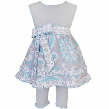 AnnLoren Girls Blue and Grey Floral Dress and Capri Legging Outfit