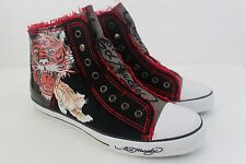 Don Ed Hardy Men Size 11 M Black Patent Leather & Canvas Upper Sneaker Shoe
