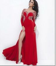 Formal Evening Dress Scoop Long Sleeve Crystal Bead Slit Chiffon Prom Party Gown