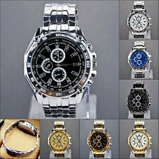 Men's Stainless Steel Band 3-Sub Dial Quartz Analog Case Watches Wrist Watch