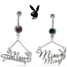 Playboy Miss Playmate Crystal Belly~Navel Ring Stainless Steel February or May