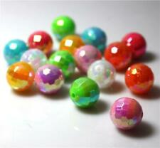 LARGE FACETED ROUND ACRYLIC BEADS 14mm 'AB' LUSTRE' COLOUR CHOICE