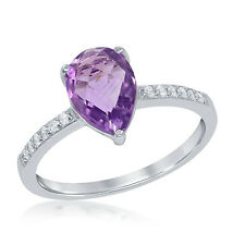 La Preciosa Sterling Silver Pear-cut Amethyst and White Topaz Ring