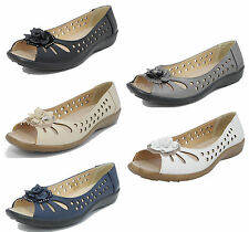 Womens Wide Fit Leather Lined Open Peep Toe Flower Summer Shoes 3 4 5 6 7 8 9