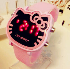 Women Lady Girl PINK Hello Kitty BIG Led Digital Wrist Watch Birthday Gift her