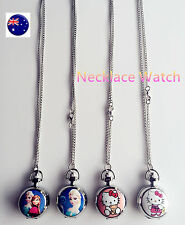 Girl Kid Hello Kitty OR Frozen Pocket Watch necklace chain Birthday Easter Gift