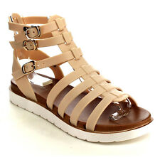 Beston EB29 Women's Multi Buckle Strap Ankle Cuff Jelly Gladiator Flat Sandals