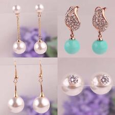 New Fashion Colorful Women 18k Gold Plated Double Pearl Dangle Earring Jewelry