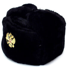Authentic Russian Military Black Ushanka Hat w/ Soviet Imperial Eagle Badge