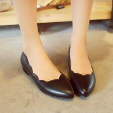 Sweet Women's Flat Casual Pointed Toe Ballet Dance PU Leather Shoes Plus Size