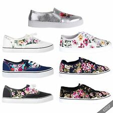 Womens Glitter Floral Print Plimsolls Trainers Sneakers Shoes Low Top Pumps