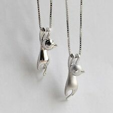 Fashion Silver Plated Necklace Tiny Cute Cats Pendants Chain Odd Fancy Jewelry