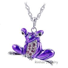 Jewelry Rhinestone Purple Enamel Frog Pendant Necklace Silver Tone Long Chain